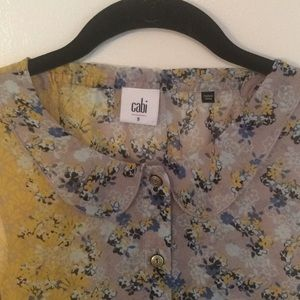 Cabi - Sheer Floral Collared Top